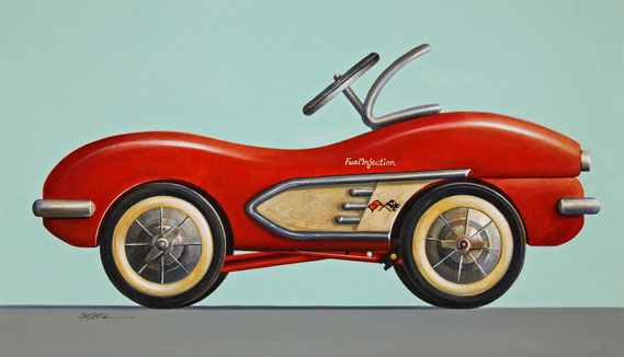 """Wendy Chidester, """"Fuel Injection,"""" 2020, oil on canvas, 19 x 33 inches - SOLD"""