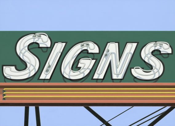 """Stephanie Schechter, """"Signs,"""" oil on aluminum, 26 x 36 inches, $5,200"""
