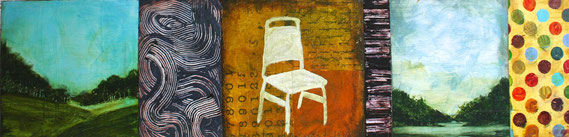 "Cheryl Warrick, ""Asking,"" acrylic and mixed media on panel, 13 x 50 inches, $6,000"