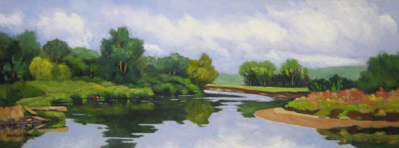 "Michael Filmus, ""Morning on the Housatonic,"" 2017, oil on canvas, 12 x 32 inches, $4,500"
