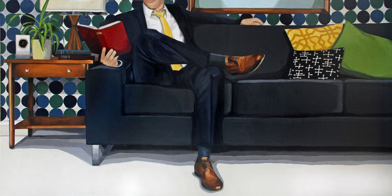 """Leslie Graff, """"On His Mind,"""" 2021, acrylic on canvas, 36 x 72 inches, $12,000"""