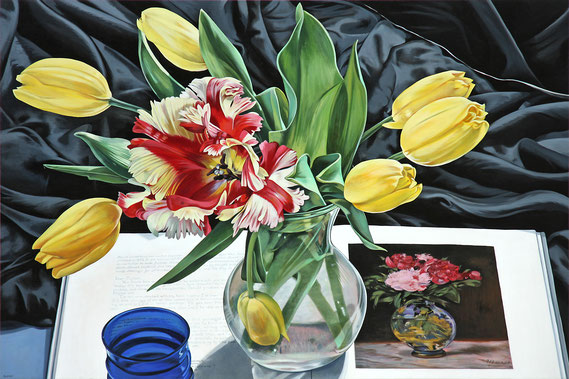 """Sherrie Wolf, """"Yellow Tulips with Manet,"""" 2017, oil on linen, 32 x 48 inches, $9,200"""