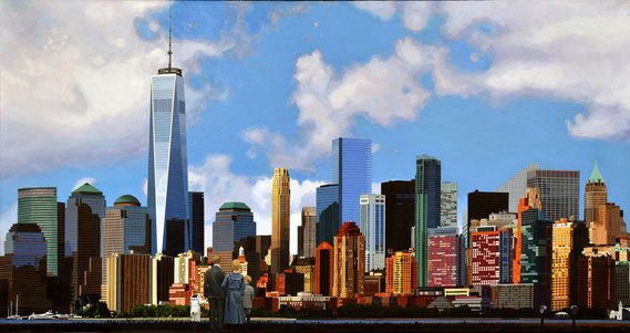"""Andrew Woodward, """"Manhattan Vision,"""" 2021, acrylic on canvas, 36 x 68 inches, $14,000"""
