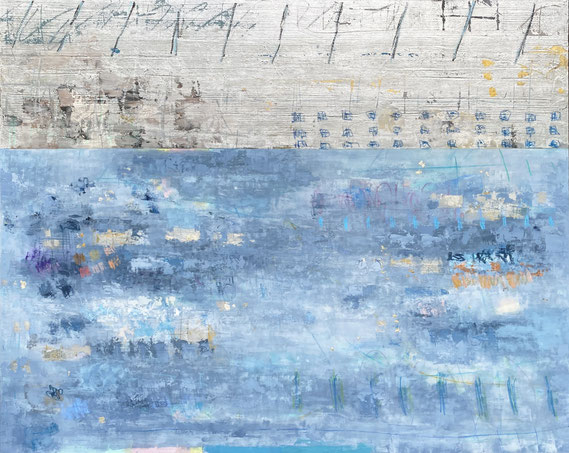 """Takefumi Hori, """"Silver and Color 50,"""" 2021, acrylic, gold leaf, white-gold leaf, and metal leaf on canvas, 48 x 60 inches, $13,800"""