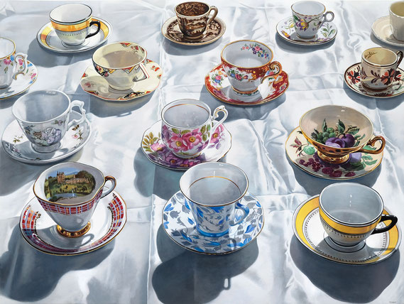 """Sherrie Wolf, """"Teacups on Satin,"""" 2019, oil on linen, 36 x 48 inches, SOLD"""