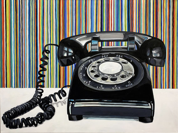 """Leslie Graff, """"Waiting for You to Call,"""" 2021, acrylic on canvas, 30 x 40 inches, $6,000"""