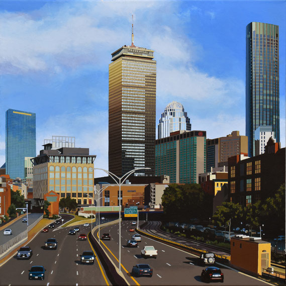 """Andrew Woodward, """"Boston Beckons,"""" 2021, acrylic on canvas, 32 x 32 inches - SOLD"""