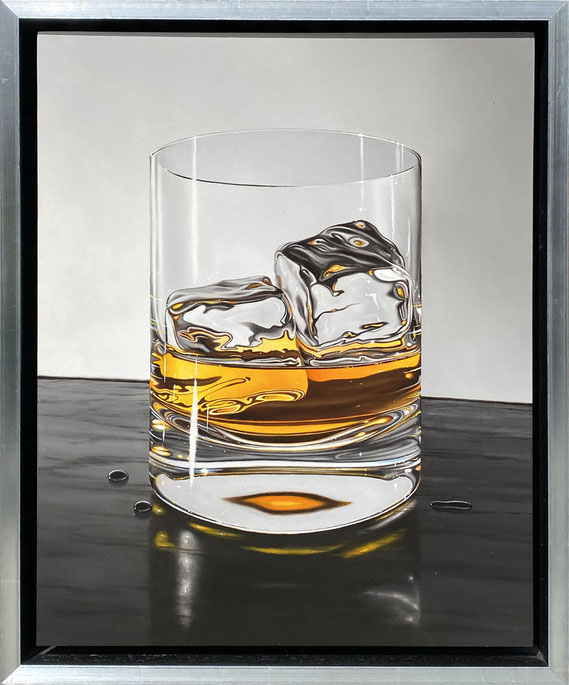 """Otto Duecker, """"Scotch on the Rocks,"""" 2021, oil on panel, 19 x 16 inches - contact for price"""
