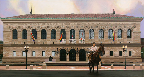 "Andrew Woodward, ""The Traveling Librarian,"" 2019, acrylic on canvas, 16 x 30 inches, $4,200"