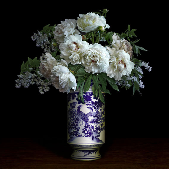 "T.M. Glass, ""Tulips in a Blue, White and Gold Vessel,"" 2020, archival pigment print on hand-made Italian rag paper, 58 x 58 inches (also available in 42 x 42""; 52 x 52""), contact for price"