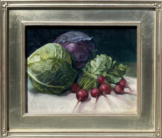 """Jenny Kelley, """"Cabbages & Radishes,"""" 2020, oil on linen over panel, 11 x 14 inches, $2,600"""