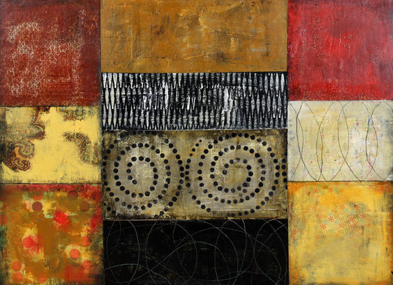 "Cheryl Warrick, ""Links,"" acrylic and mixed media on panel, 22 x 30 inches, $6,000"