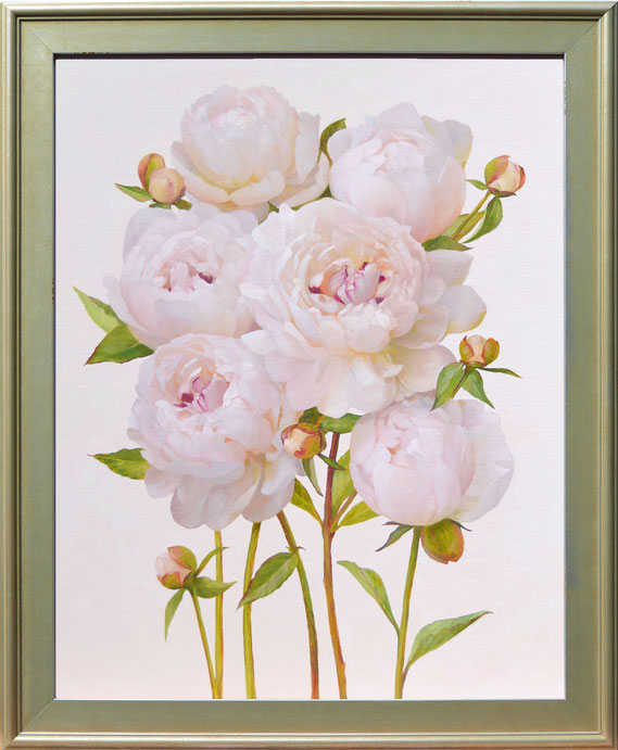 """Jenny Kelley, """"Pink Peonies,"""" 2021, oil on linen over panel, 20 x 16 inches, $3,400"""