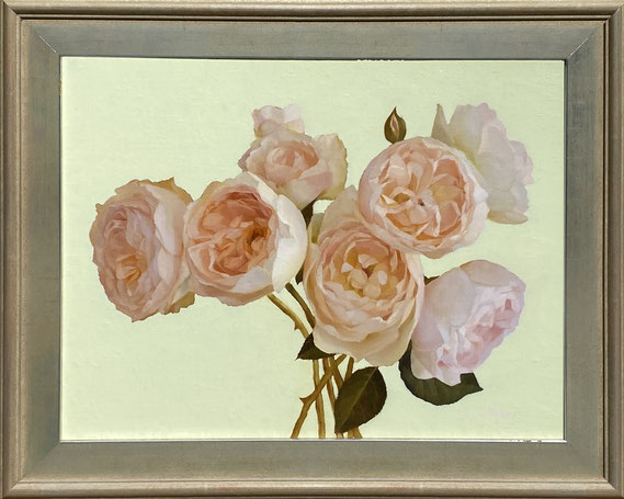 """Jenny Kelley, """"Roses with Pale Green,"""" 2021, oil on linen over panel, 11 x 14 inches, $2,600"""