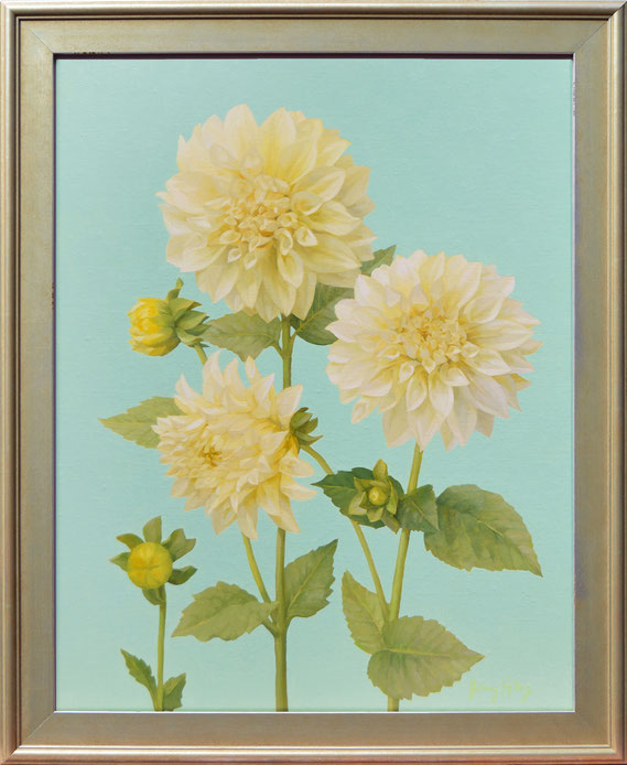 """Jenny Kelley, """"White Dahlias with Aqua,"""" 2021, oil on linen over panel, 20 x 16 inches, $3,400"""