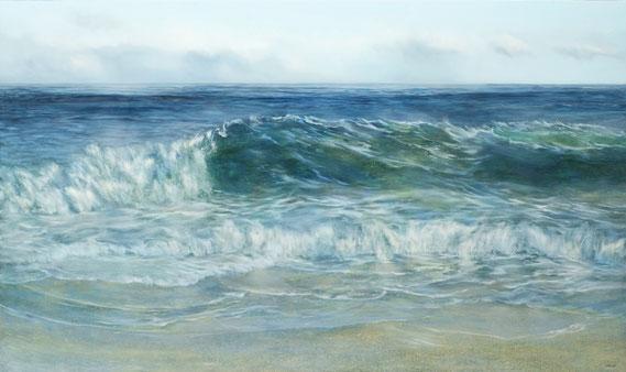 "Teri Malo, ""Blue Cursives,"" 2019, oil on panel, 34 x 40 inches, $6,300"