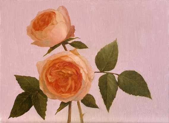 """Jenny Kelley, """"English Roses,"""" 2020, oil on linen over panel, 9 x 12 inches, $2,200"""