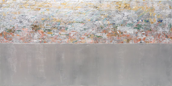 """Takefumi Hori, """"Silver and Silver,"""" 2018, acrylic, silver and metal leaf on canvas, 36 x 72 inches, $11,000"""