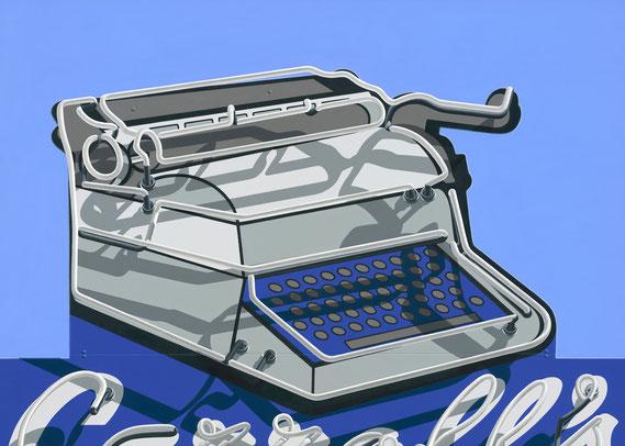 "Stephanie Schechter, ""Carroll's Typewriter,"" oil on aluminum, 20 x 28 inches, $4,400"