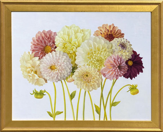 """Jenny Kelley, """"Dahlias on Pale Violet,"""" 2021, oil on linen over panel, 16 x 20 inches, $3,400"""
