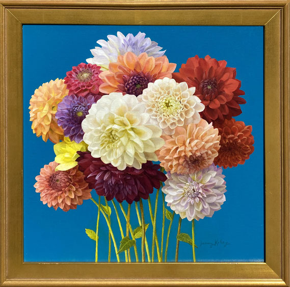 "Jenny Kelley, ""Dahlias Rainbow,"" 2021, oil on linen over panel, 16 x 16 inches, $3,200"
