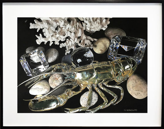 "Sheldon Berkowitz, ""Lobster, Coral and Crystals,"" pastel over watercolor on paper, 36 x 47 inches, $18,500  (framed size: 45 x 56 inches)"