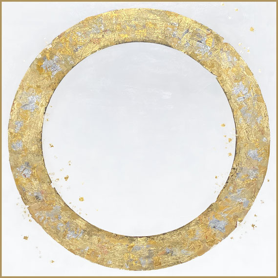 """Takefumi Hori, """"Circle No. 169,"""" 2021, acrylic, gold leaf and metal leaf on canvas, 48 x 48 inches, $9,600"""