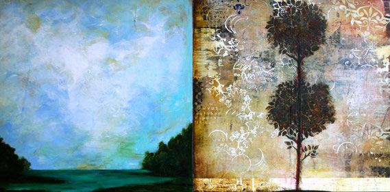 "Cheryl Warrick, ""He Who Knows,"" acrylic and mixed media on panel, 24 x 48 inches, $7,800"