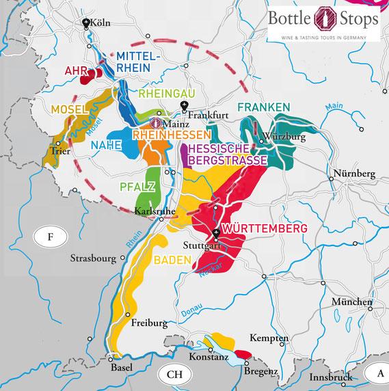 the wine region of  Franken / Franconia is located east of Frankfurt
