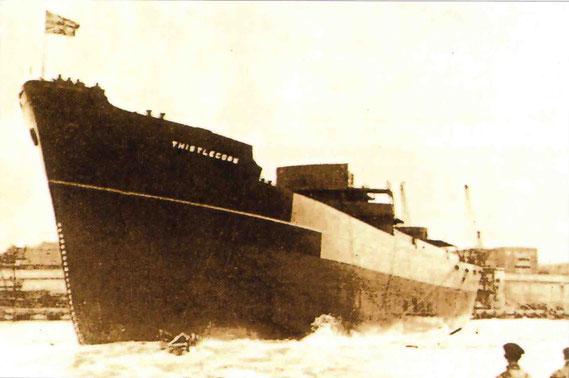 Sunderland, 9 aprile 1940 - il momento del varo, unico documento fotografico del Thistlegorm