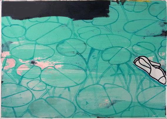 """PD.Fund.W.See/25-07-2014.MEZ 7:42, III"", 2014, Öl auf Karton, 70 x 100 cm"