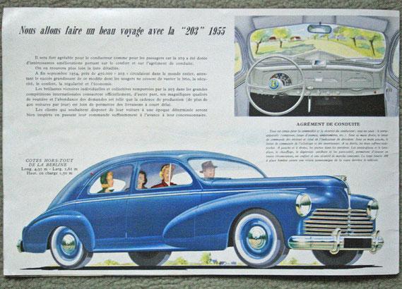 Publicité Peugeot pour la 203 en 1955