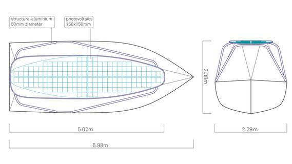 sol 20 solar boat sketch