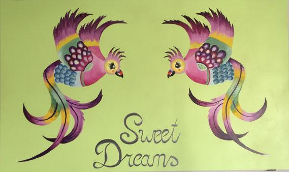 Kindermalerei auf MDF- Platte mit Akrylfarben
