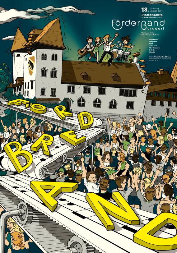 Plakat Gestaltung: Förderband | Brand, Konzept und Illustration (Technik Ink und Photoshop) by Lockedesign 2014