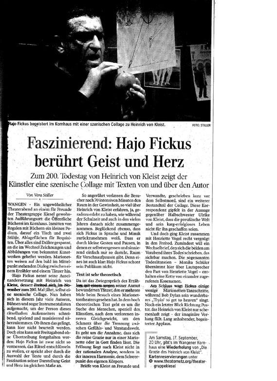 Schwäb. Zeitung Wangen 14. 09. 2011 - zum Vergrößern bitte anklicken