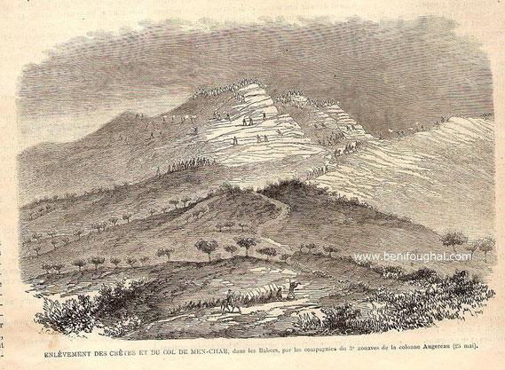 enlèvement des crêtes et du col de Men-Char, dans les Babors, par les compagnies du 3e zouaves de la colonne Augereau (25 Mai)