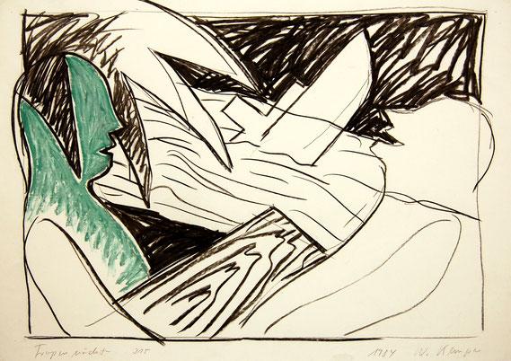 Tropennächte, Kreide auf Zeichenpapier, 1984, 61/86 cm. Museum am Ostwall, Dortmund