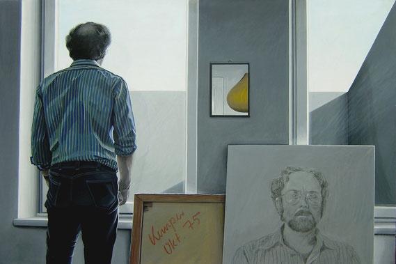 Im Atelier, Selbstbildnis, 1975, Acryl auf Holzplatte, 100/150 cm