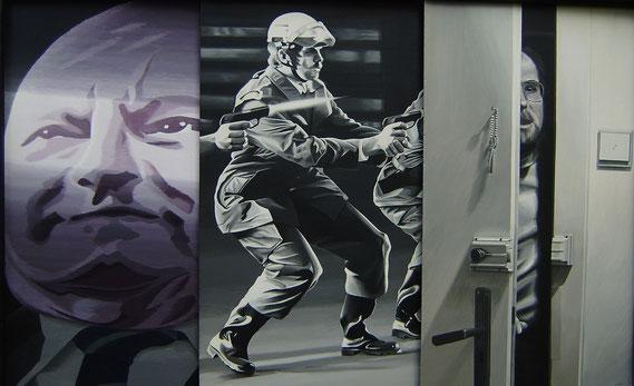 Die Gewalt und meine Angst vor der Gewalt. 1974, 3 Teile, Acryl auf Holzplatten, 88/140 cm