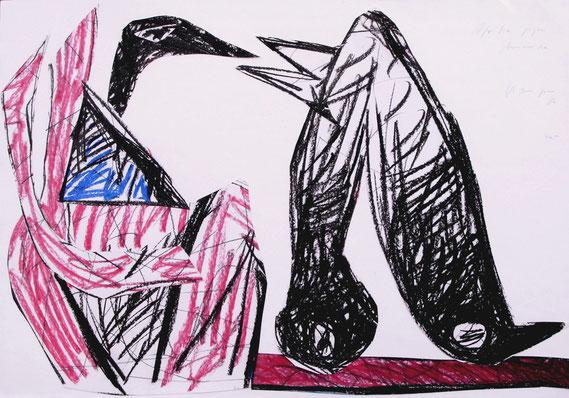 Amerika gegen Afrika, 1986, 70/100 cm, Kreide und Collage auf Zeichenpapier