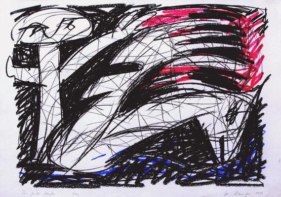 "Der gute Hirte, 1986, 70/100 cm, Kreide. Die Zeichnung war 1986 in Yokohama Teil der Ausstellung: ""Art - a Dialog on Peace"", Privatsammlung, Bielefeld"