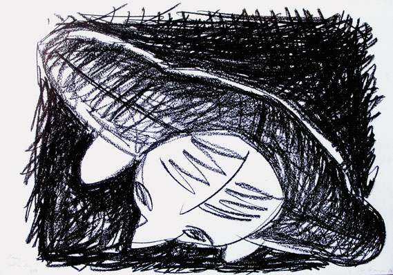 Mann, stehend. 1986, Schwarze Kreide, 70/100 cm