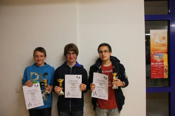 Das U18-Podest v.l.n.r.: Uli Weller (3.!!), Nicolas Lagassé (1.), Matthias Reimann (2.)