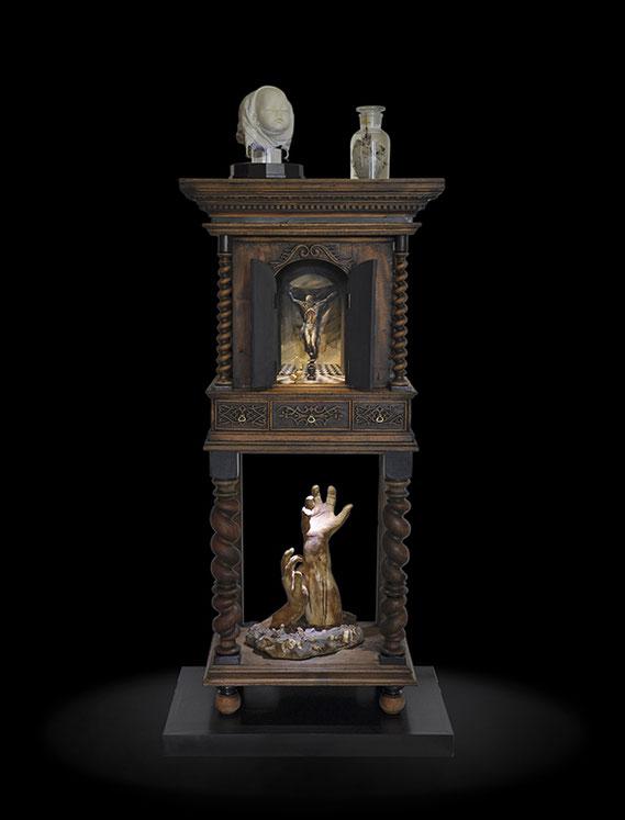 cabinet, cabinet de curiosité, meuble à mécanisme, peinture, sculpture, œuvre composite