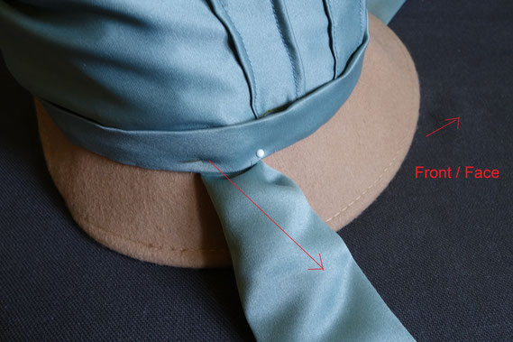 Step 15: Pin the ties in place (© Nina Möller) DIY Regency Bonnet Hat Tutorial
