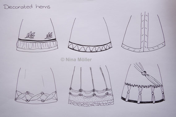 Different Regency hem decoration styles, fashion copperplate prints Regency Empire (© Nina Möller)