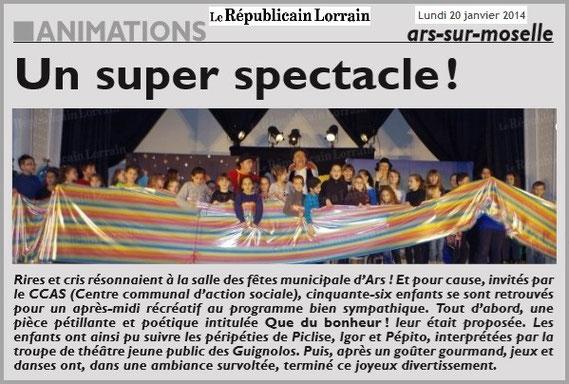 article de presse RL 20012014 - spectacle jeunesse - compagnie théâtrale jeune public LES GUIGNOLOS - ARS-SUR-MOSELLE - saison 2013/2014