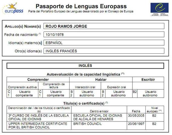 Pasaporte de Lenguas del PE