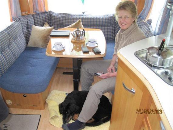 Im Wohnwagen lässt sich auch gut schlafen